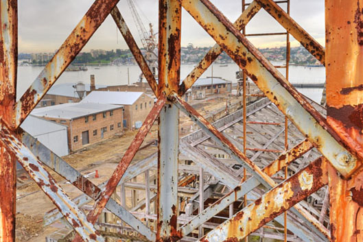 view of Cockatoo Island through the crane